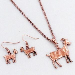 Coppertone Goat Necklace & Earring Set